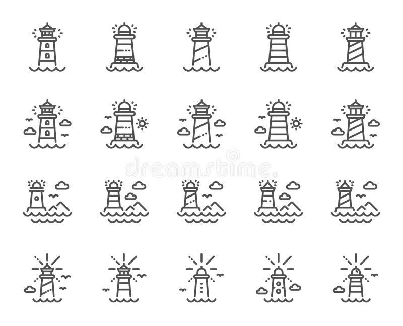 Fyrlinje symboler Str?lkastaretorn med seagullen f?r marin- navigering av skepp vektor vektor illustrationer