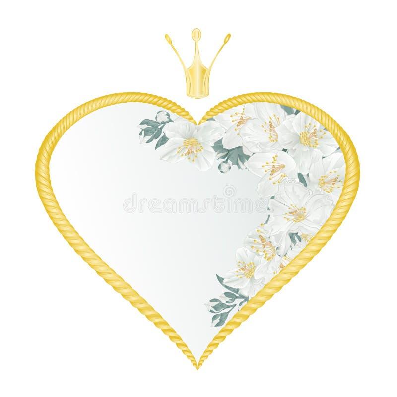 Fyrram med Floral halvmåne med jasmin och knoppar vintage festive background vetor illustrerar redigerbar handtagning vektor illustrationer