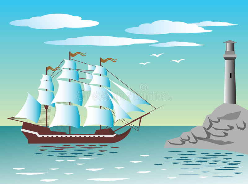 fyrseglingship vektor illustrationer