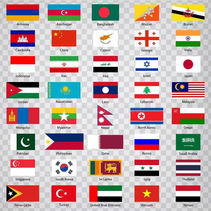 Fyrtio flaggor av asiatiska länder Lista av fyrtio flaggor av Asien länder med inskrifter och original- proportioner på genomskin vektor illustrationer