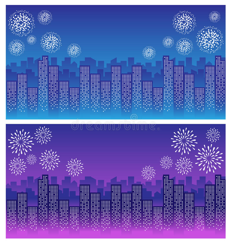 Fyrverkeri över himmel i stadsnatt royaltyfri illustrationer