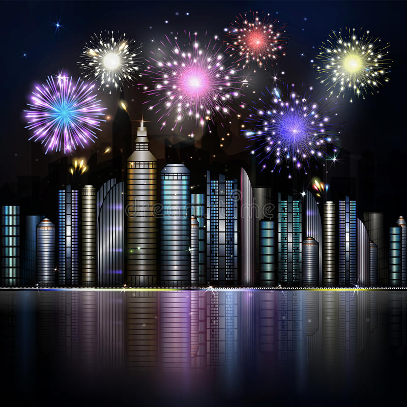 Fyrverkeri över nattstad med reflexion i floden Vektorstad w vektor illustrationer