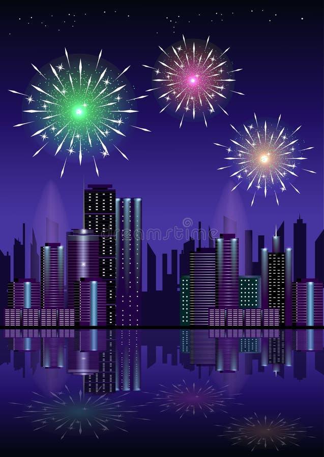 Fyrverkeri över stad på natten med reflexion i vatten royaltyfri illustrationer