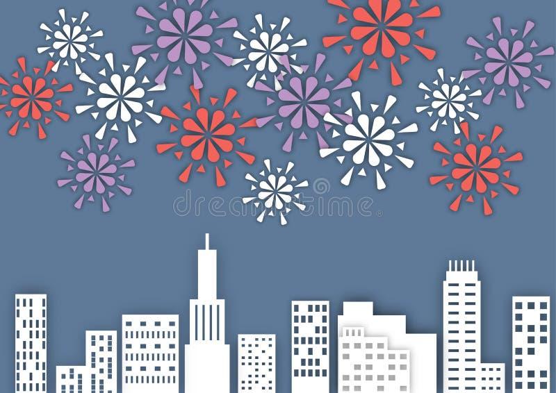 Fyrverkeri över staden på natten, pappers- konststilvektor vektor illustrationer