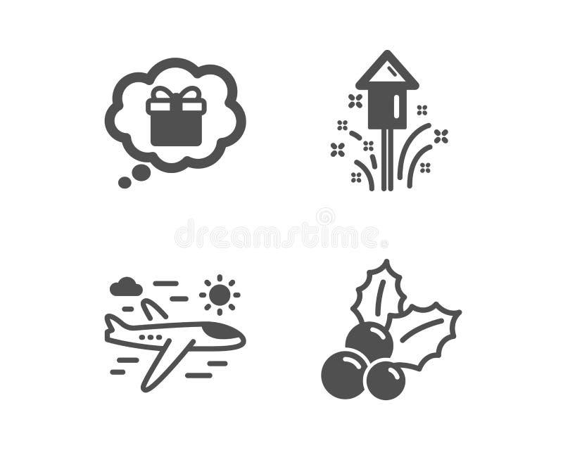 Fyrverkeri-, gåvadröm och flygplanloppsymboler Juljärnektecken vektor vektor illustrationer