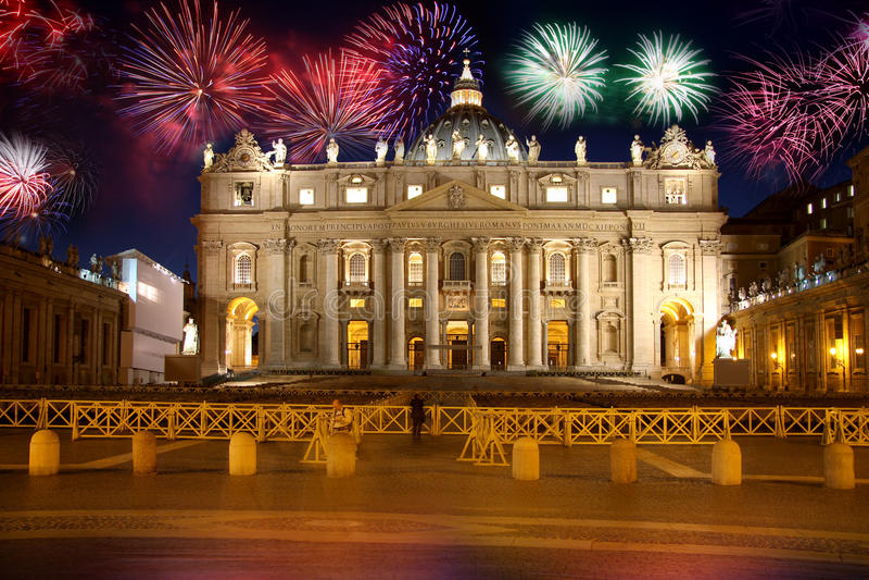 fyrverkeri italy rome vatican arkivfoto