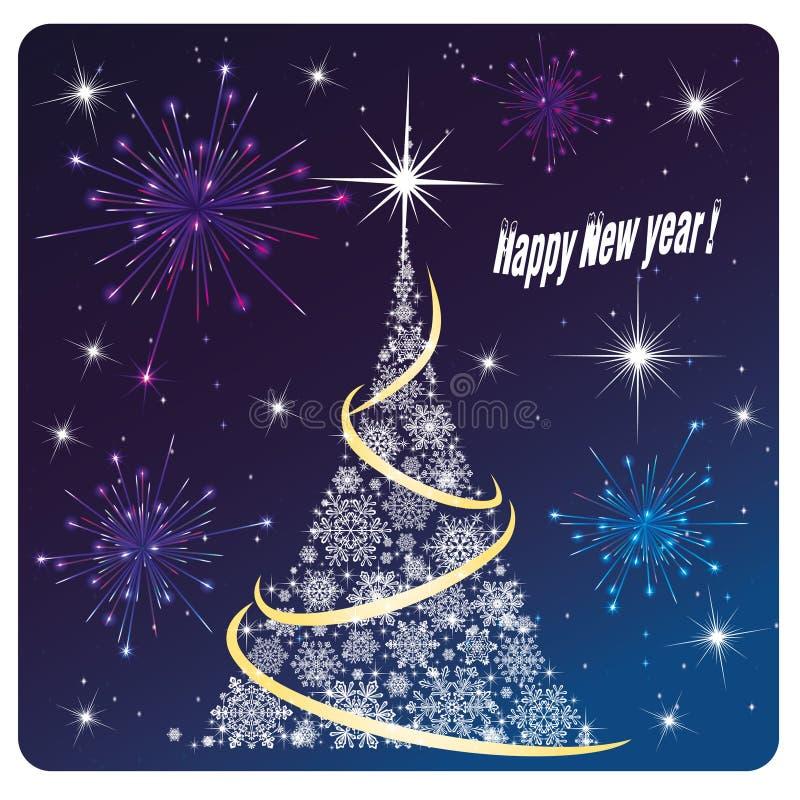 Fyrverkeri och fyrverkerier för lyckligt nytt år för kort stock illustrationer