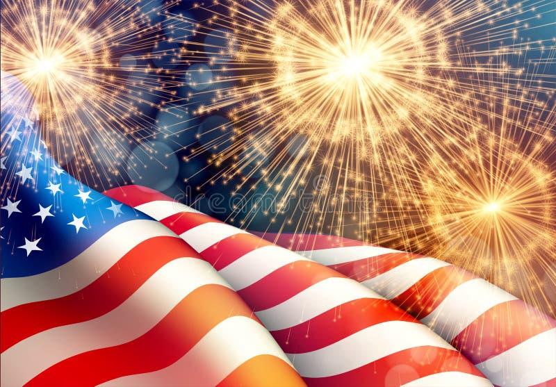 Fyrverkeribakgrund för 4th av den Juli Independense dagen med amerikanska flaggan också vektor för coreldrawillustration royaltyfri illustrationer
