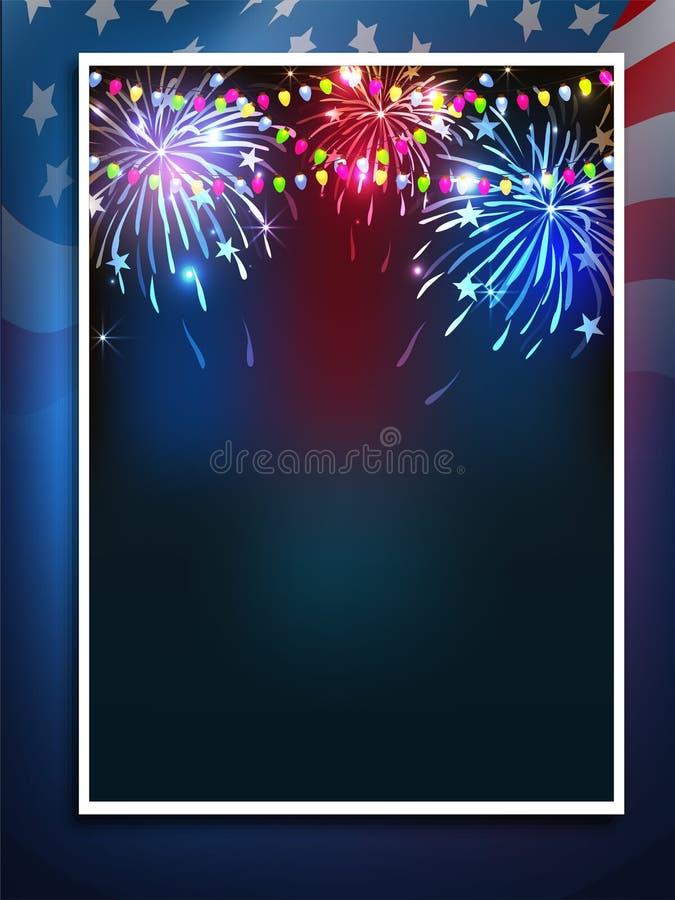 Fyrverkeribakgrund för 4th av Juli beröm stock illustrationer