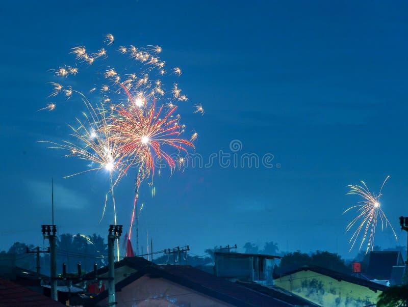 Fyrverkeriberöm för nytt år som beskådas på natten med blå himmel för skönhet royaltyfria bilder