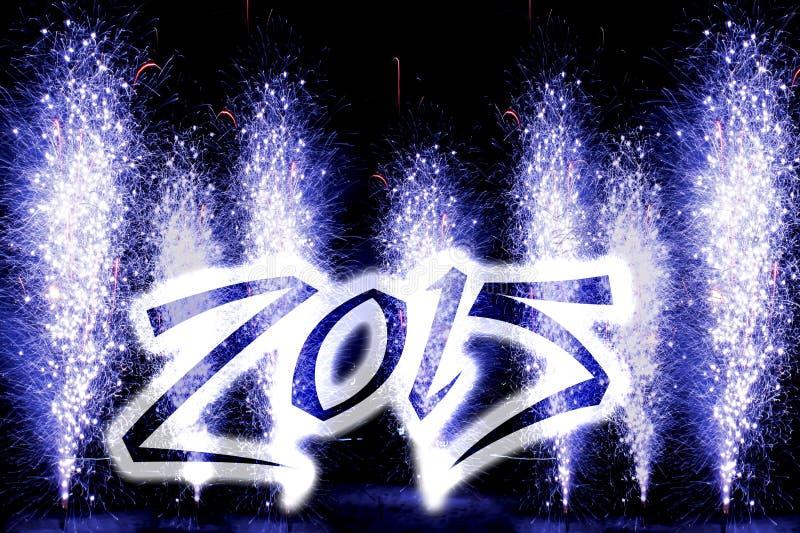 Fyrverkerier för lyckligt nytt år 2015 royaltyfri bild