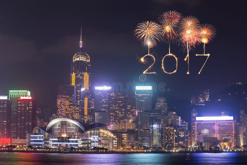 2017 fyrverkerier för lyckligt nytt år som firar över den Hong Kong staden arkivfoto