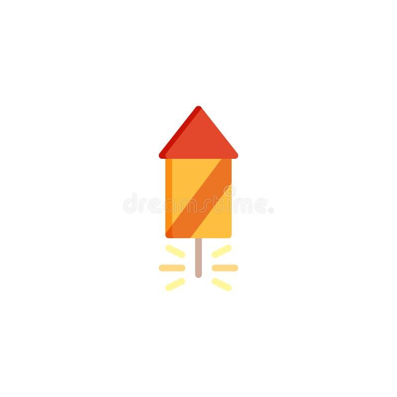 Fyrverkerier flyger den plana symbolen royaltyfri illustrationer