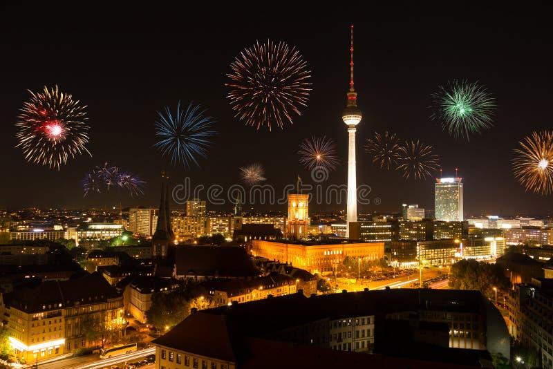 Fyrverkerier i berlin royaltyfri fotografi
