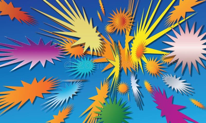 Fyrverkerier i form av stjärnor royaltyfri illustrationer