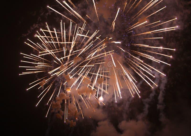 Fyrverkerier i natthimlar arkivfoto