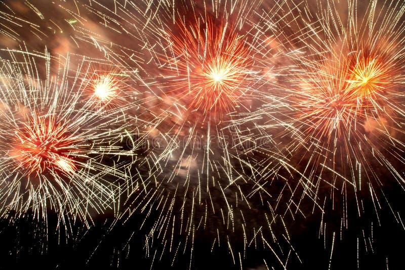 Fyrverkerier i nattmörkerhimmel royaltyfri fotografi