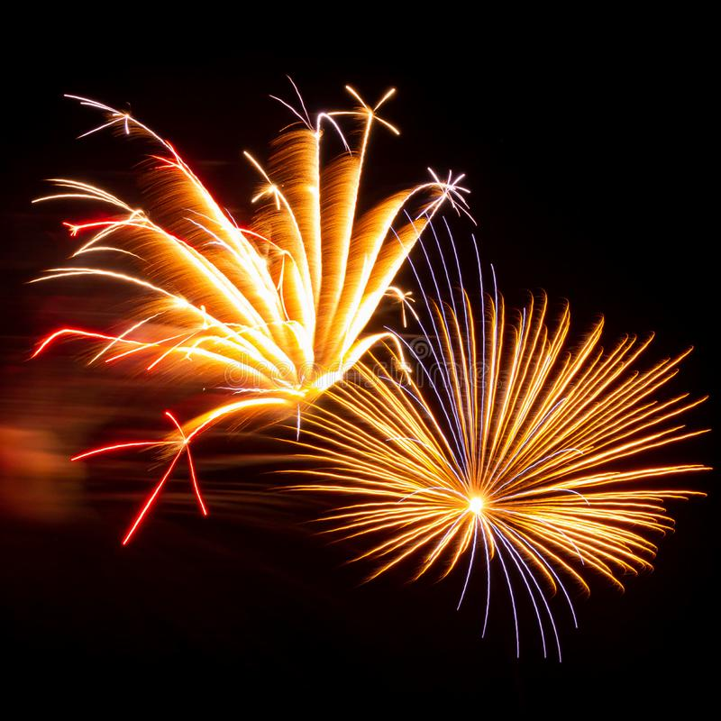 Fyrverkerier med enkla, röda, gröna och guld exploderar under en självständighetsdag i Förenta staterna royaltyfri foto