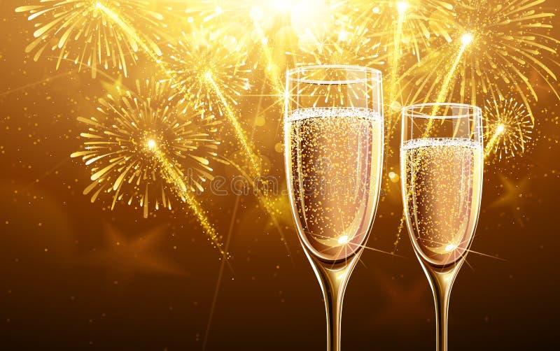 Fyrverkerier och champagne för nytt år vektor illustrationer