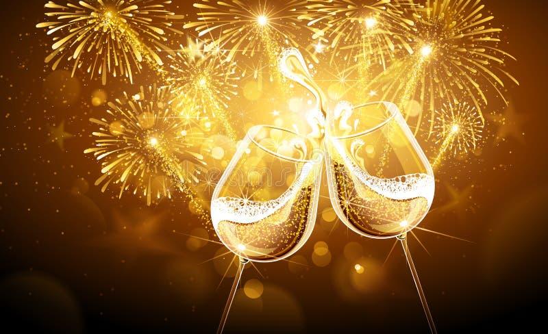 Fyrverkerier och champagne för nytt år stock illustrationer