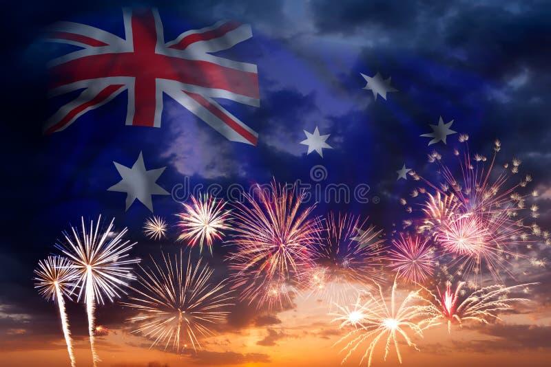 Fyrverkerier och flagga av Australien stock illustrationer