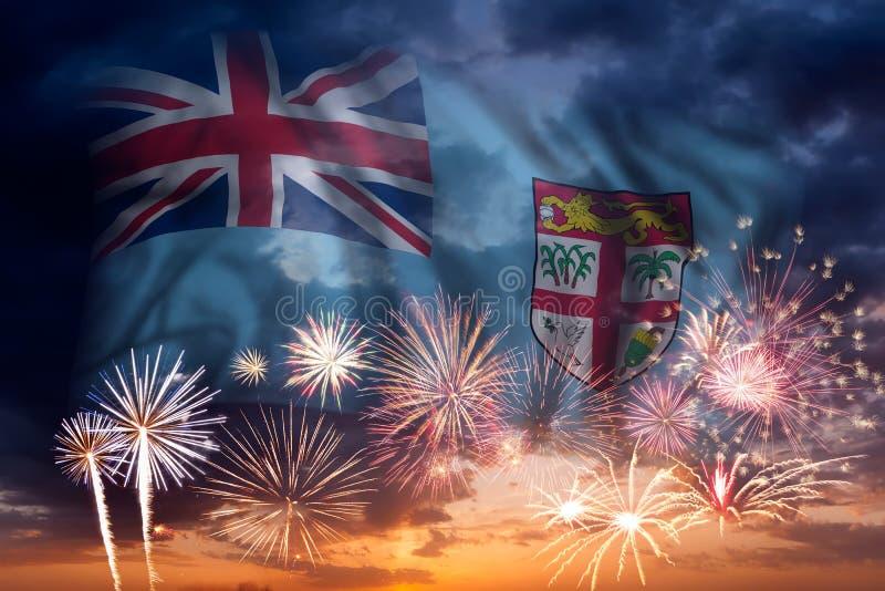 Fyrverkerier och flagga av Fiji stock illustrationer