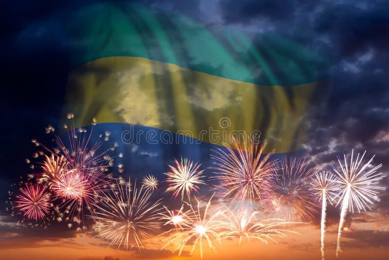 Fyrverkerier och flagga av Gabon royaltyfri illustrationer