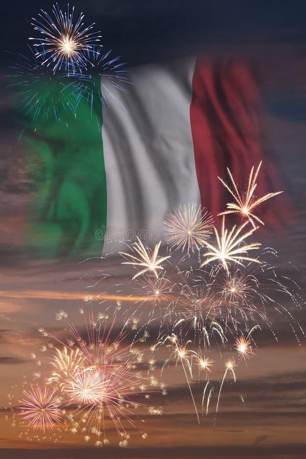 Fyrverkerier och flagga av Italien vektor illustrationer