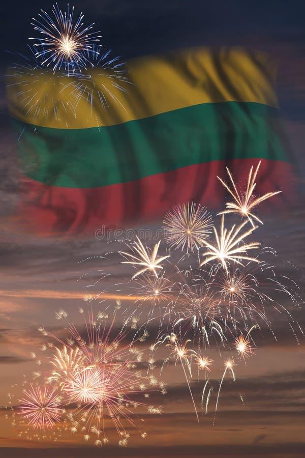 Fyrverkerier och flagga av Litauen royaltyfri illustrationer