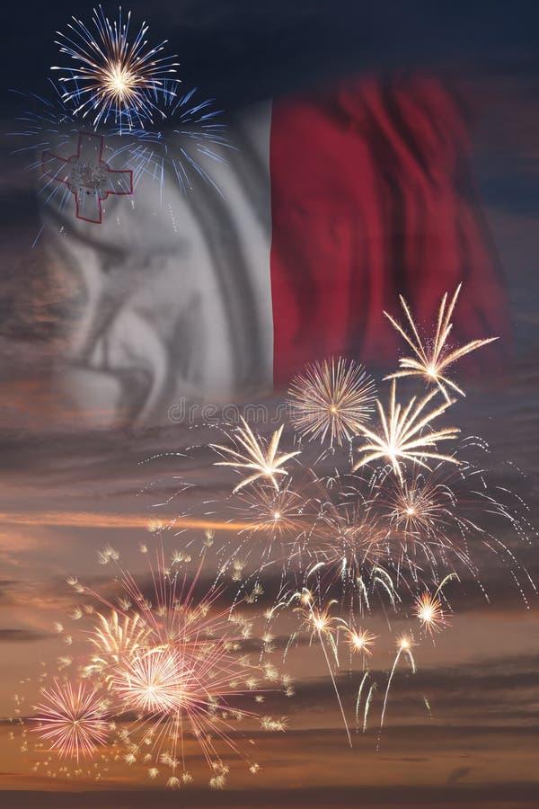 Fyrverkerier och flagga av Malta stock illustrationer