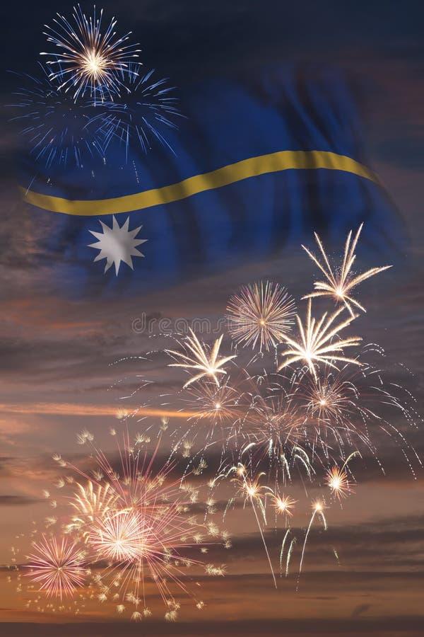 Fyrverkerier och flagga av Nauru royaltyfri illustrationer