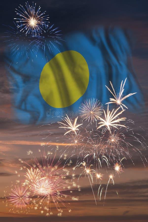 Fyrverkerier och flagga av Palau stock illustrationer