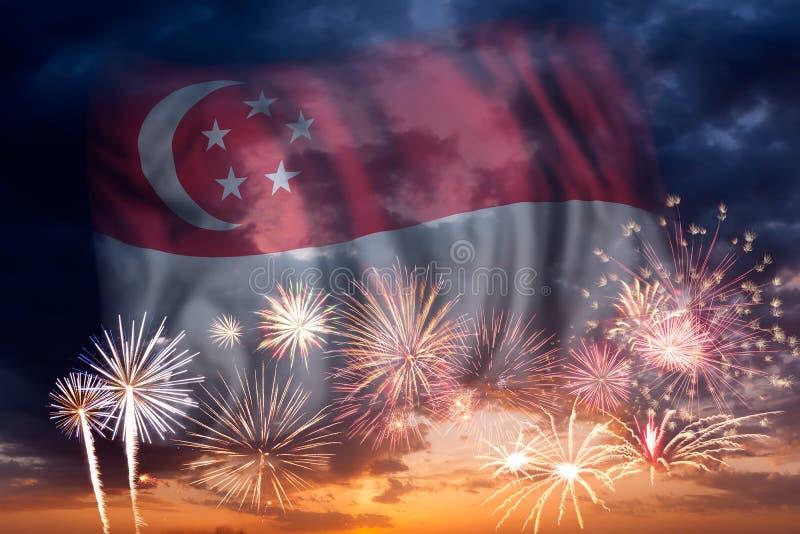 Fyrverkerier och flagga av Singapore vektor illustrationer