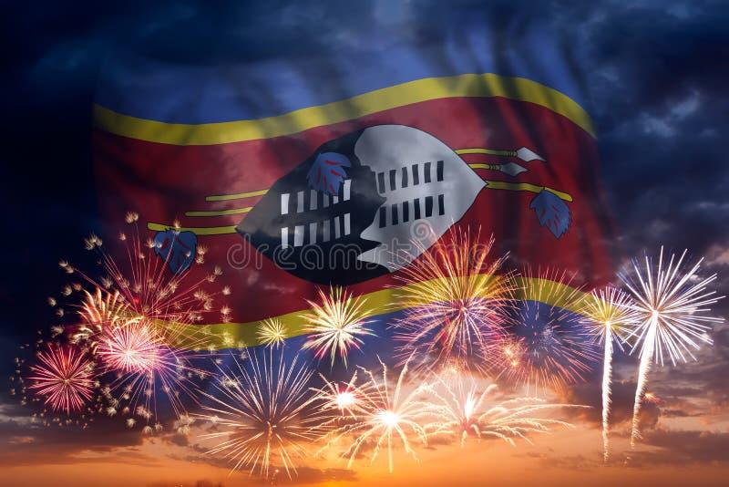 Fyrverkerier och flagga av Swaziland stock illustrationer