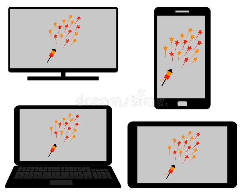 Fyrverkerier på digitalt massmedia royaltyfri illustrationer