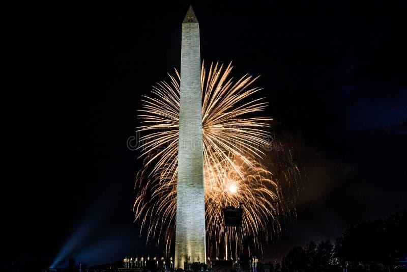 Fyrverkerier på gallerian i Washington DC på 4th Juli 2017 arkivfoton