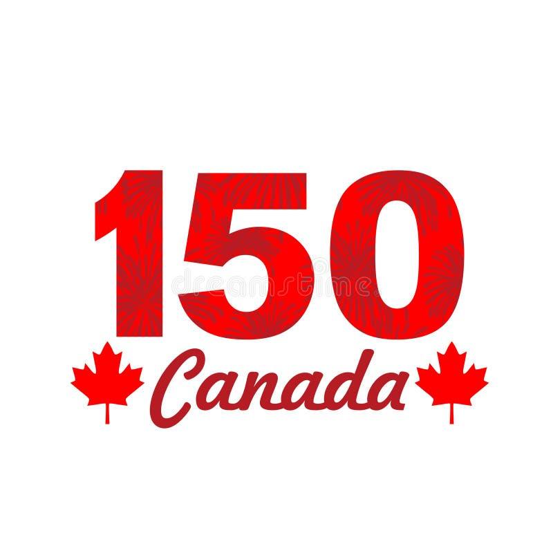 Fyrverkerier på Kanada 150 vektor illustrationer