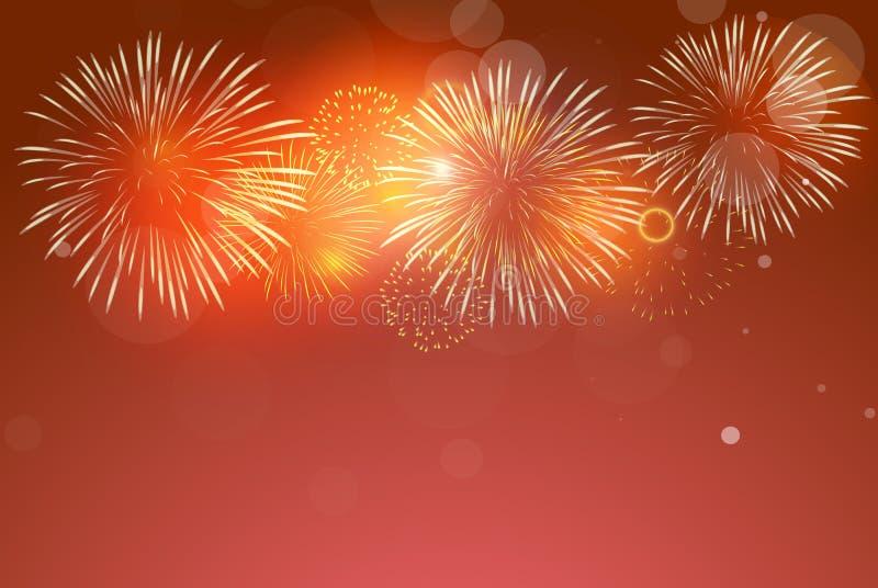 Fyrverkerier på röd bakgrund som firar på kinesiskt nytt år vektor illustrationer