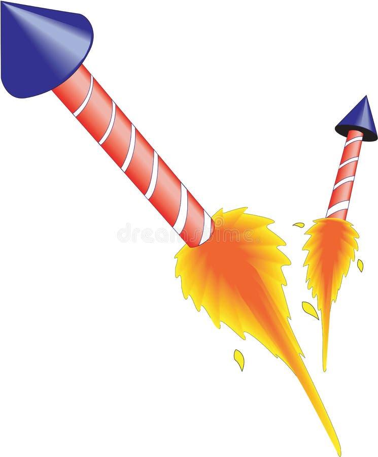 Fyrverkerier Rockets Vector Illustration royaltyfri illustrationer