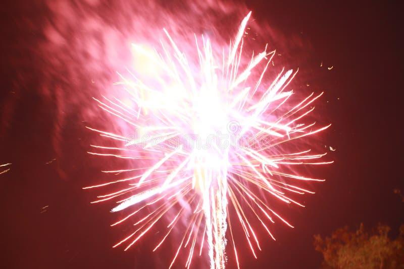 Fyrverkerier t?nde en gnista, s? h?rligt i nattfestivalen royaltyfri foto