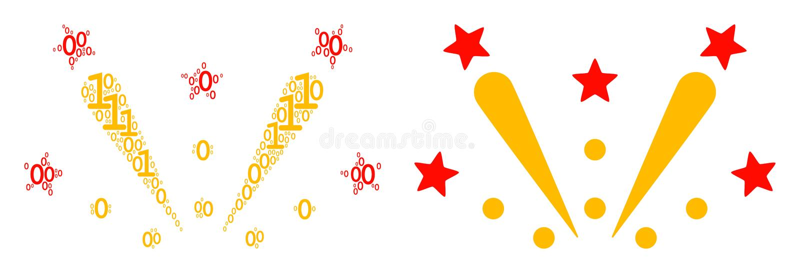 Fyrverkeriexplosionmosaik av binära siffror royaltyfri illustrationer