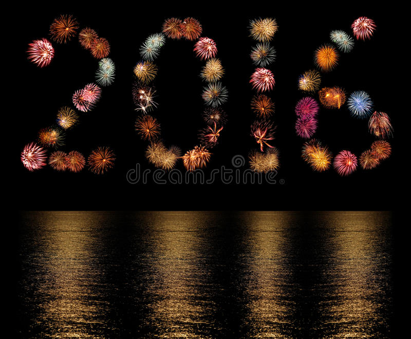 Fyrverkerit brister ordnat som numret 2016 arkivbild