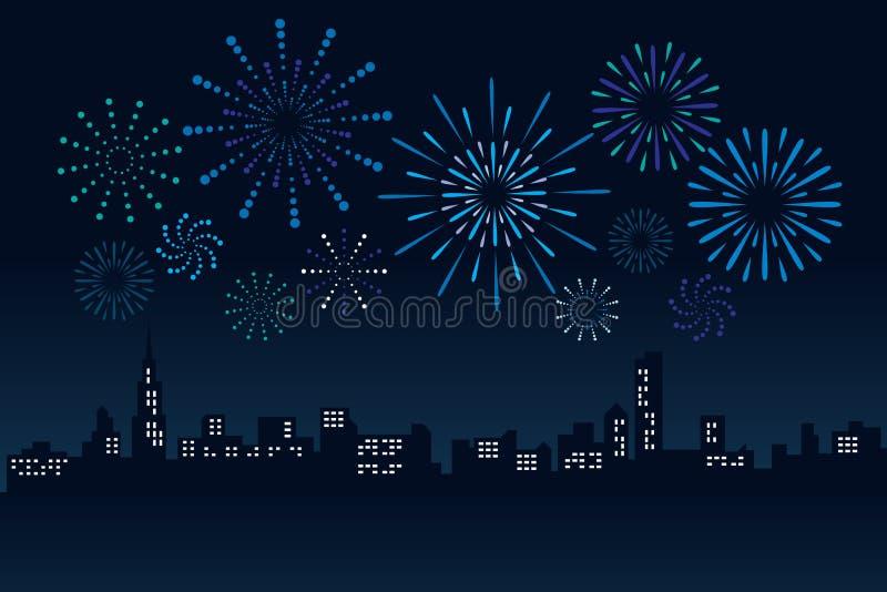 Fyrverkerit och Cityscapebyggnad i illustration för nattplatsvektor planlägger stock illustrationer