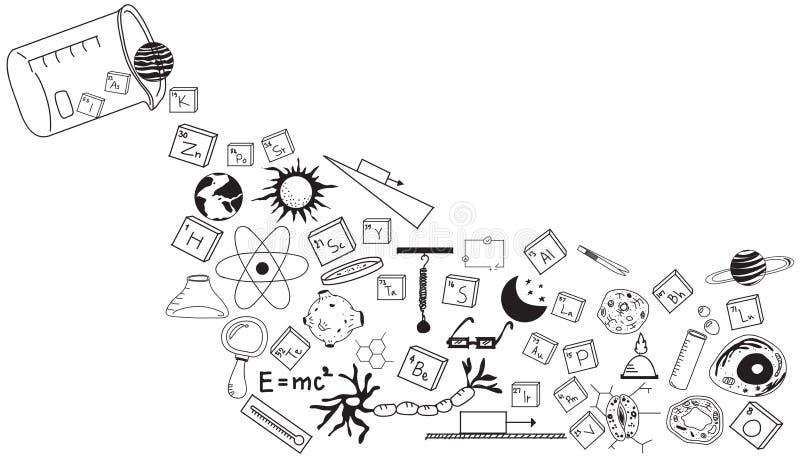 Fysica, chemie, biologie en astronomiewetenschapskrabbel royalty-vrije illustratie