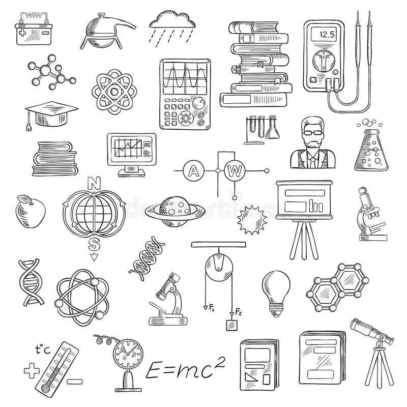 Fysica, chemie en astronomiewetenschapsschetsen stock illustratie
