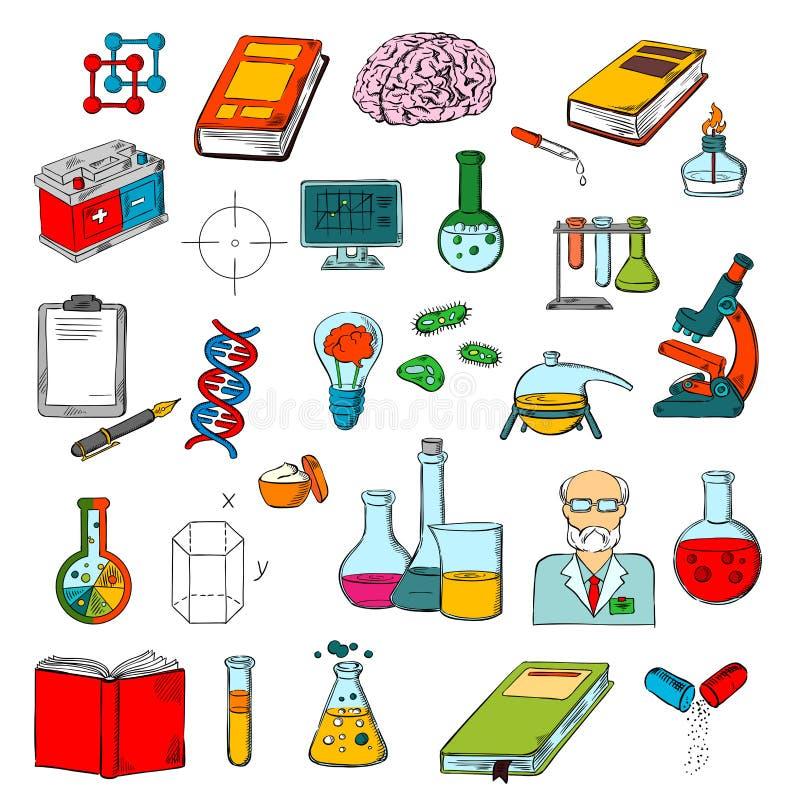 Fysica, chemie, het onderzoekpictogram van de geneeskundewetenschap vector illustratie