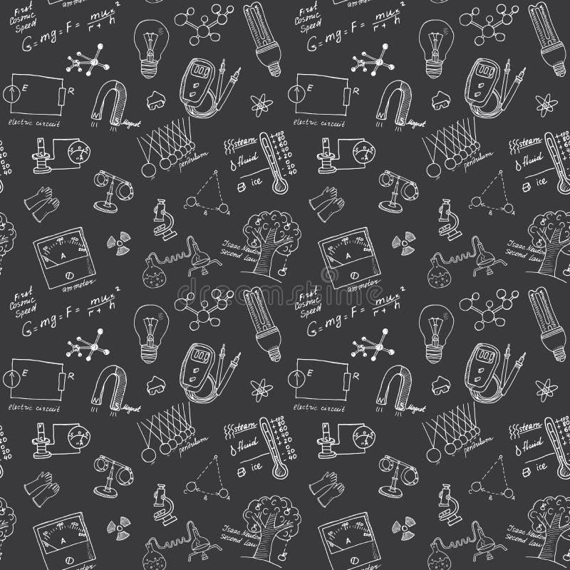 Fysica en sciense naadloos patroon met de Krabbels van schetselementen Hand Getrokken Vectorillustratie als achtergrond vector illustratie