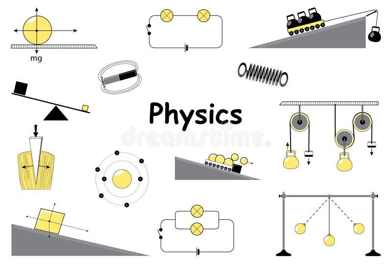 Fysica en wetenschaps geplaatste pictogrammen royalty-vrije illustratie