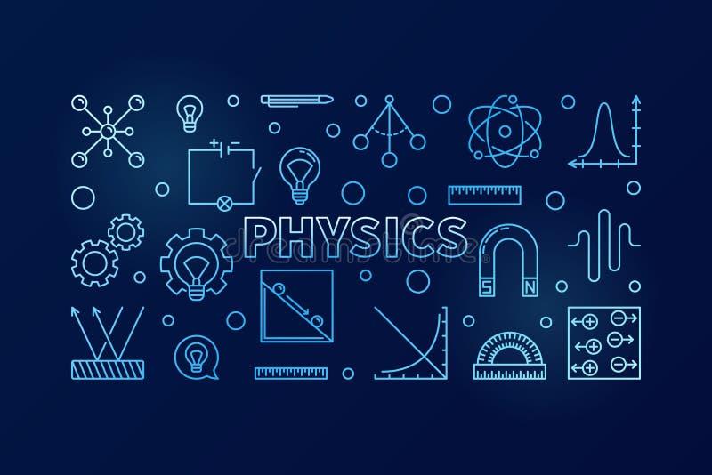 Fysica vector blauwe horizontale banner Wetenschapsillustratie vector illustratie