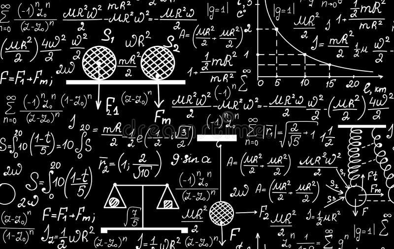 Fysiek vector naadloos patroon met de vergelijkingen, cijfers, regelingen, percelen en andere berekeningen stock illustratie